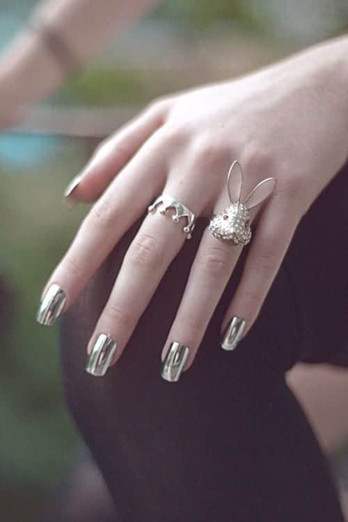 Metallic-nail-polish-ideas Warning: These 25 Metallic Nails Will Make You Change Your Nail Design Now