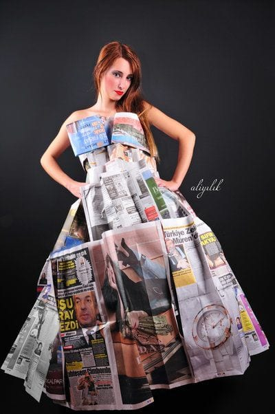 Newspaper-Gown 26 Amazing Paper Dresses Collection and Ideas