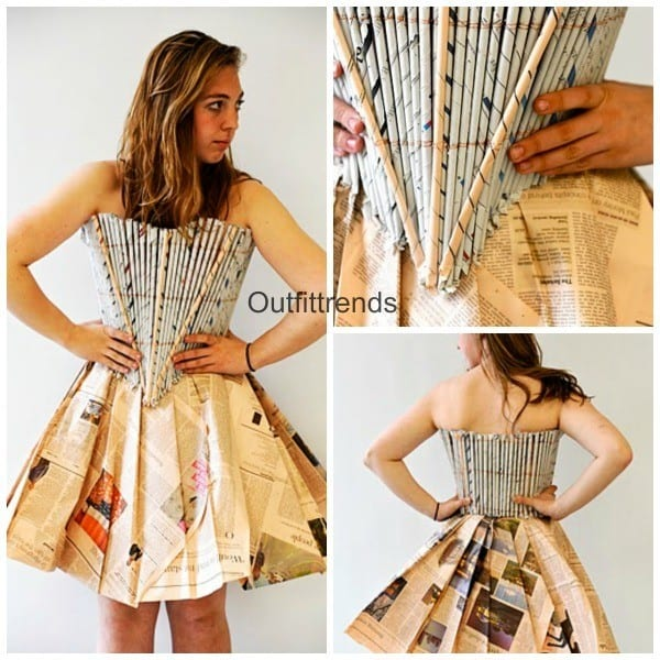 Newspaper-dress-style 26 Amazing Paper Dresses Collection and Ideas