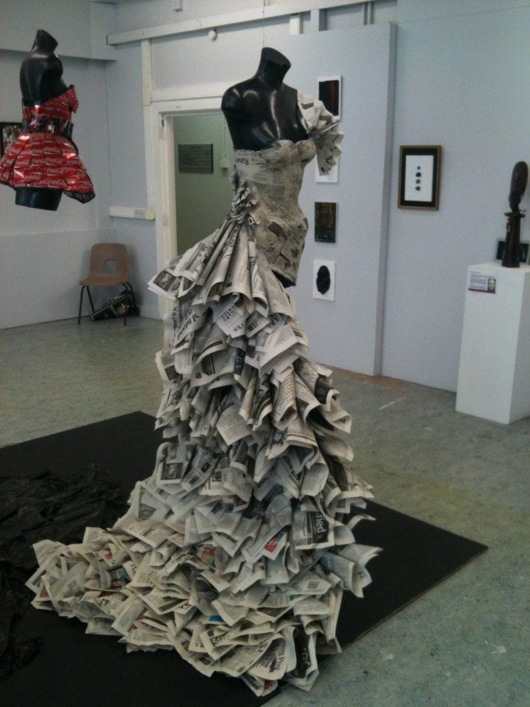 Pretty-newspaer-dresses 26 Amazing Paper Dresses Collection and Ideas