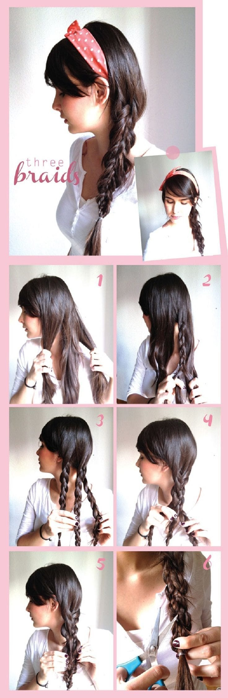 Three-Braids-Hair-Do 20 Cute and Easy Braided Hairstyle Tutorials