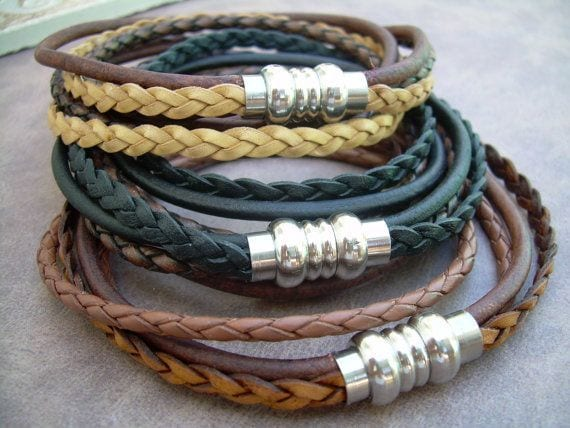 wrap genuine teenage leather com trendy i charm dp for girls stainless bracelet multilayer amazon