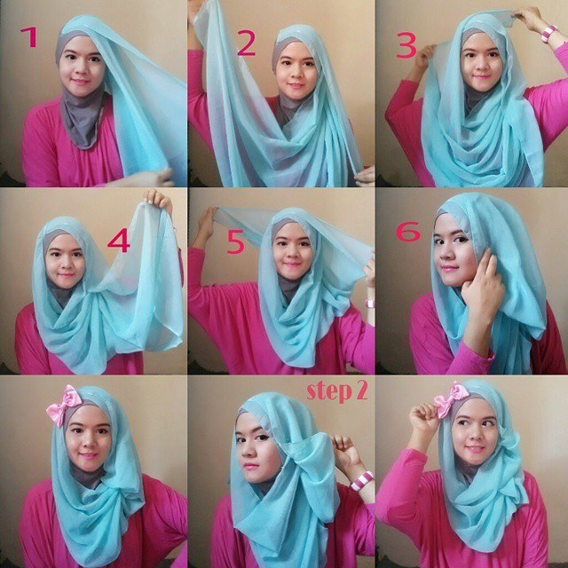 Hijab-Tutorial-with-Bow How to Wear Hijab Step by Step Tutorial in 15 Styles