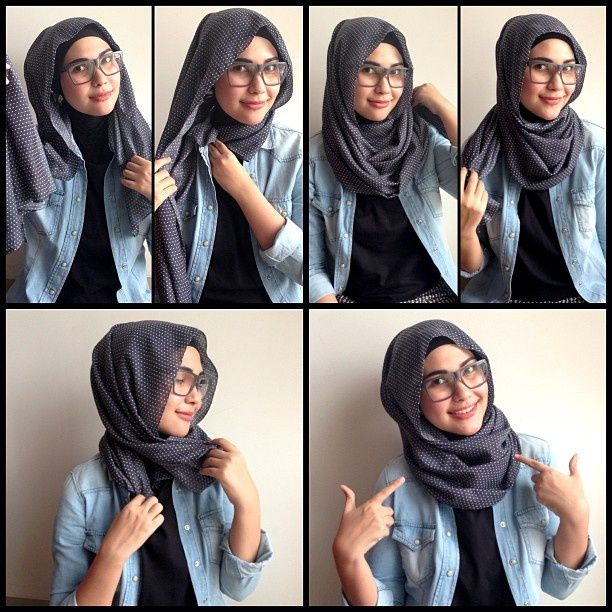 Hijab-style-for-Girls-with-Glasses How to Wear Hijab Step by Step Tutorial in 15 Styles