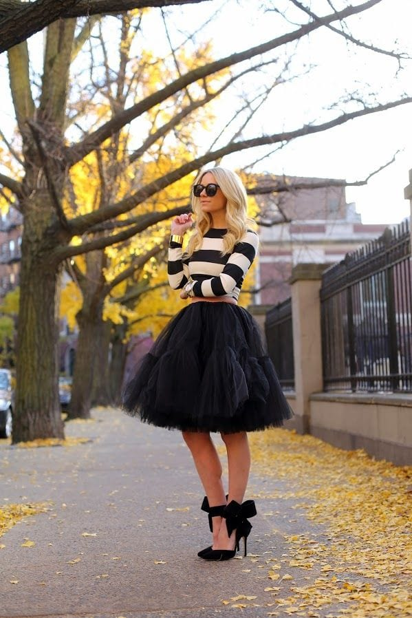 How to wear black tulle skirt