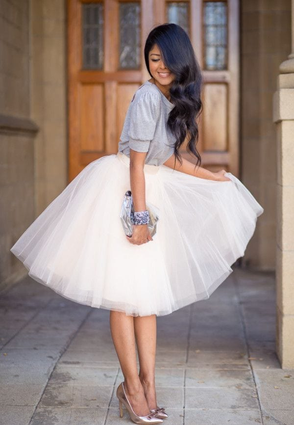 How to wear white tulle skirt