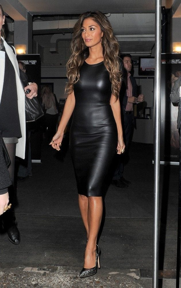 Leather cut out dress