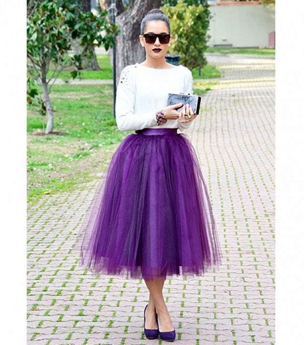 Purple-tulle-skirt How to Wear Tulle Skirt?15 Cute Outfits with Tulle Skirts