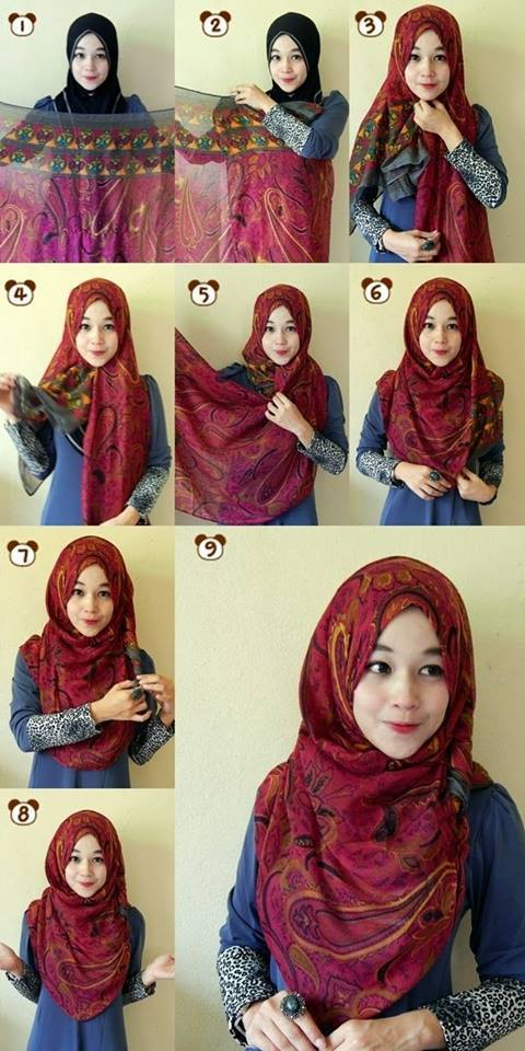 15 Easy and Simple Hijab Tutorials - How to Wear Hijab Steps
