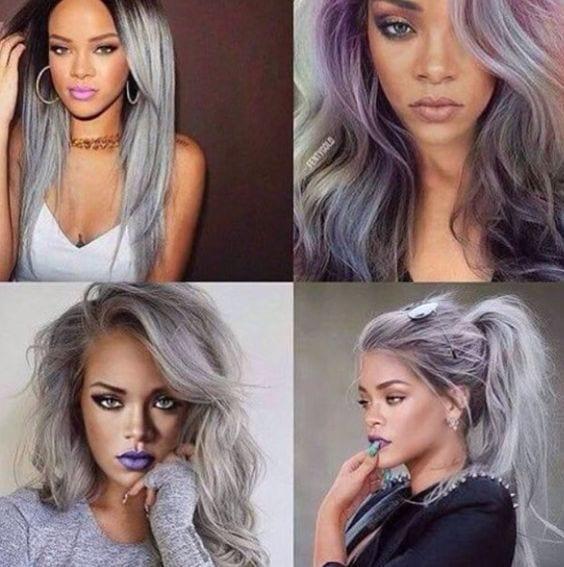 rihanna-silver-purple-hair Top 13 Cute Purple Hairstyles for Black Girls this Season