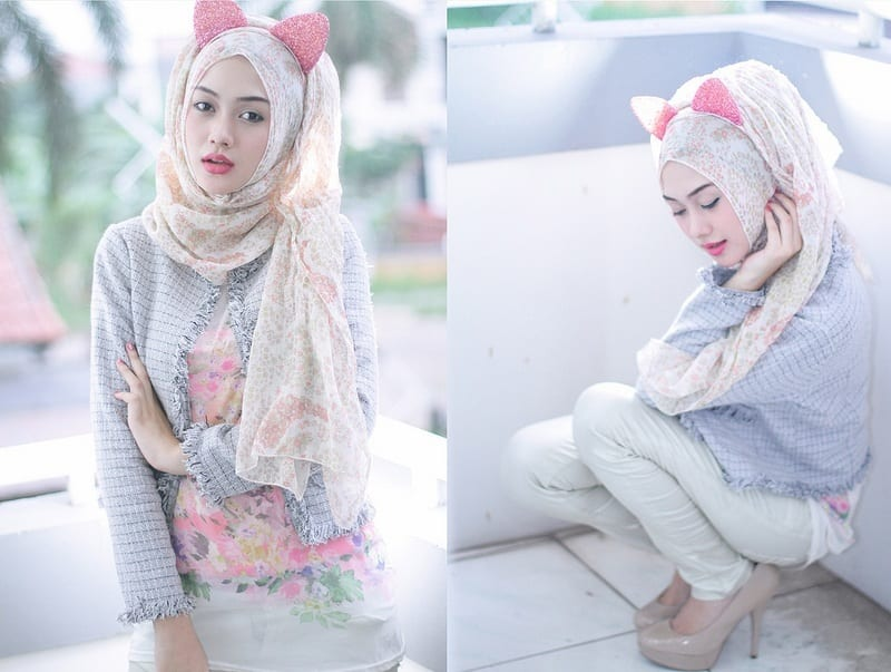 Cat-look-with-Hijab Funky Hijab Style-16 Cool Ideas to Wear Hijab for Funky Look