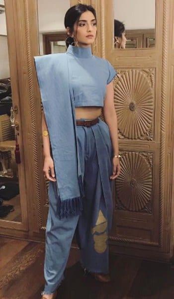 Dhoti-Saree-Sonam-Kapoor 14 Most Elegant Saree Designs - Saree Wearing Tips and Ideas
