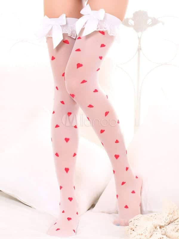 Heart-Print-thigh-highs-socks 12 Funky and Cool Printed Thigh High Socks Stockings