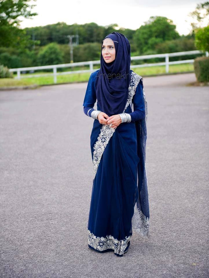 Hijab-with-Saree 8 Best Saree Styles for Muslims-Stylish Hijab with Saree Ideas