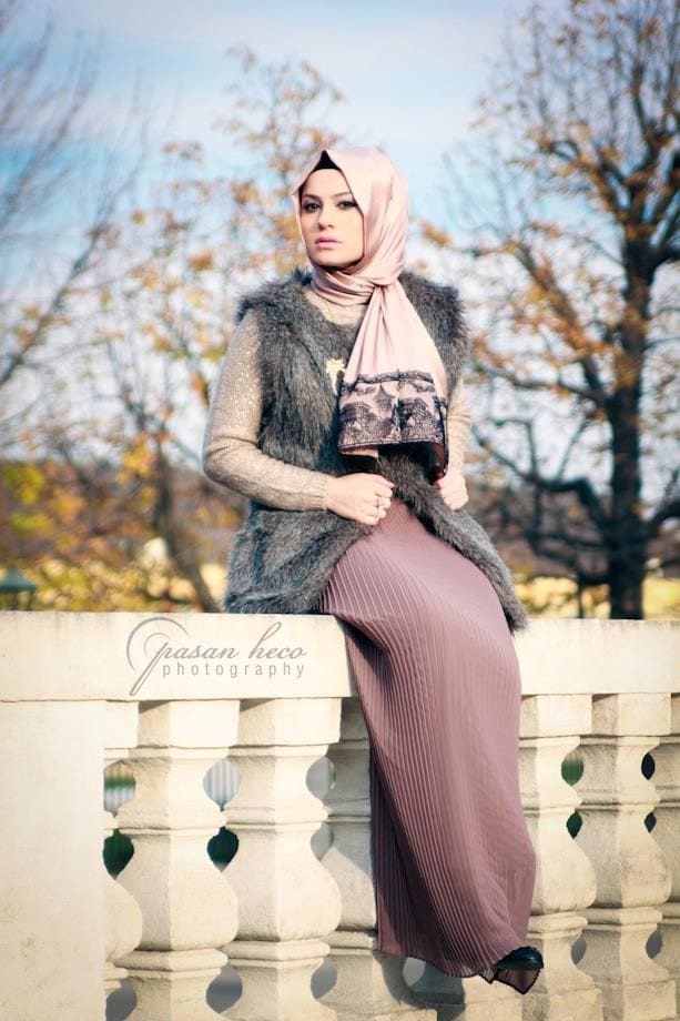 Hijab with fur jackets