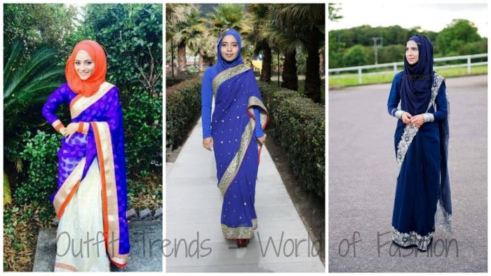 How-to-Pair-Saree-with-Hijab 8 Best Saree Styles for Muslims-Stylish Hijab with Saree Ideas