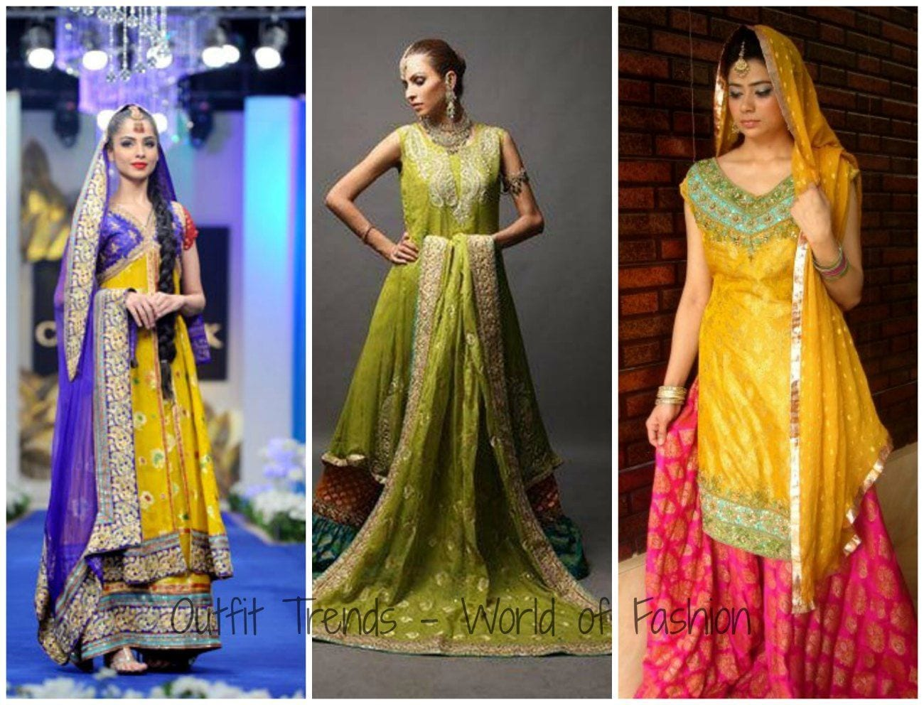 Mehndi Function Dresses : Stylish pakistani mehndi dresses collection this season