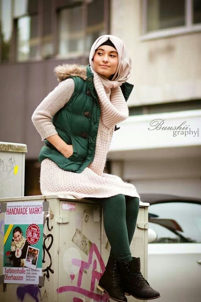Latest hijab winter fashion