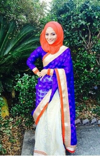 Muslim-Women-Sarees 8 Best Saree Styles for Muslims-Stylish Hijab with Saree Ideas