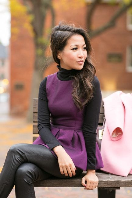 Peplum-tops-with-Leather-pants How to Wear Peplum Tops in Winter - 15 Stylish Outfit Ideas