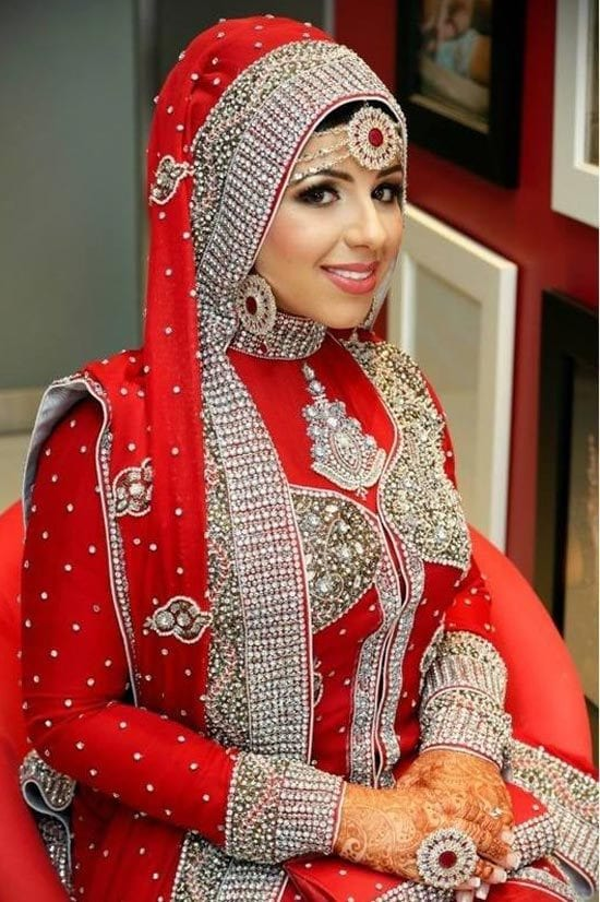 Red Hijabi Bridal wear