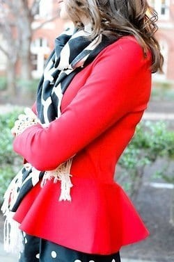 Red-Peplum-top How to Wear Peplum Tops in Winter - 15 Stylish Outfit Ideas