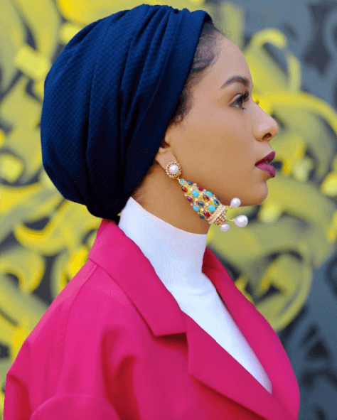 funky-earrings-with-hijab Funky Hijab Style-16 Cool Ideas to Wear Hijab for Funky Look