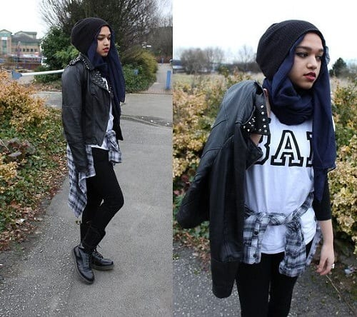 hijab-with-beanie-hat Hijab Winter Style-14 Stylish Winter Hijab Outfit Combinations