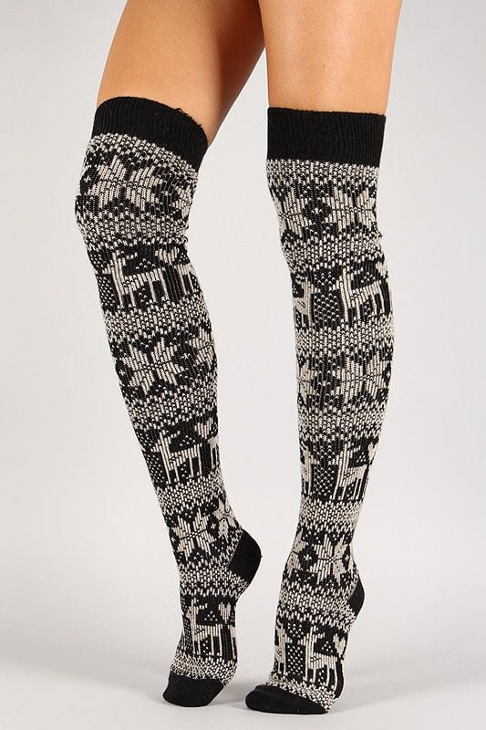 how-to-wear-thigh-high-socks 12 Funky and Cool Printed Thigh High Socks Stockings