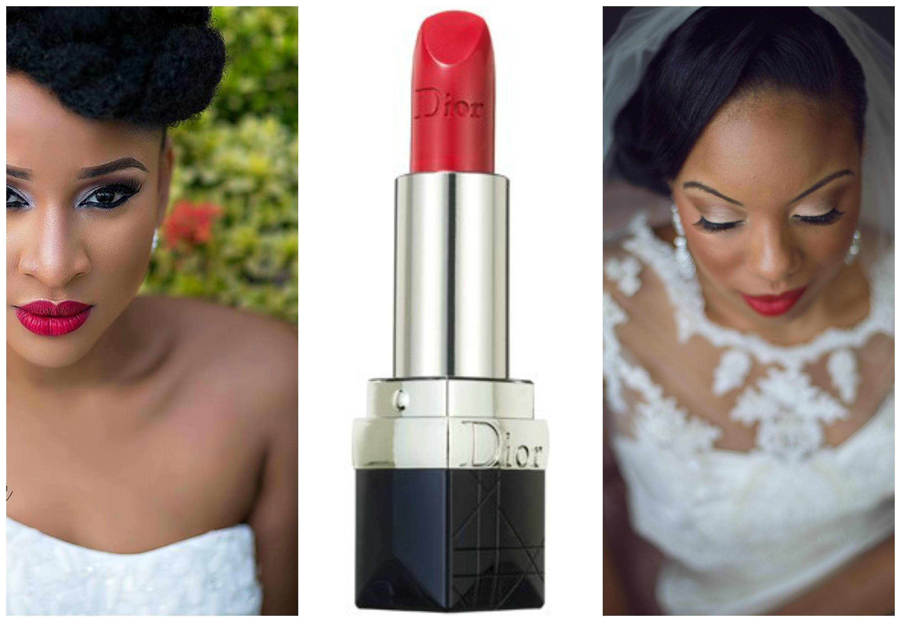red-lipstick-for-black-women-wedding Top 10 Bridal Makeup Ideas For Black Women for Stunning Look