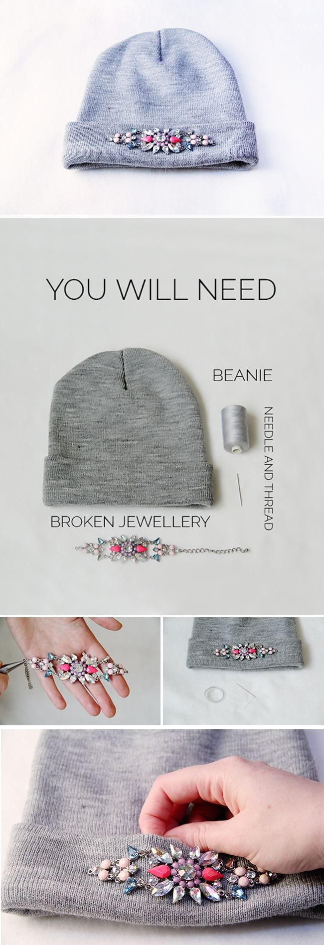 DIY-Rhinestones-Beanie-Tutorial Top 50 DIY Winter Fashion Projects With Simple Tutorials