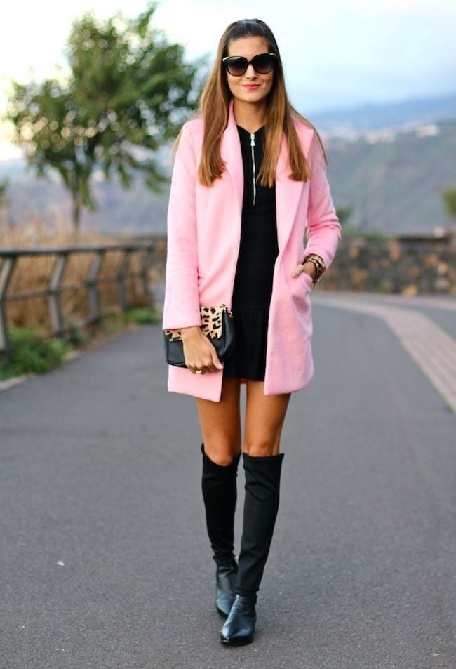 Pink long coat style