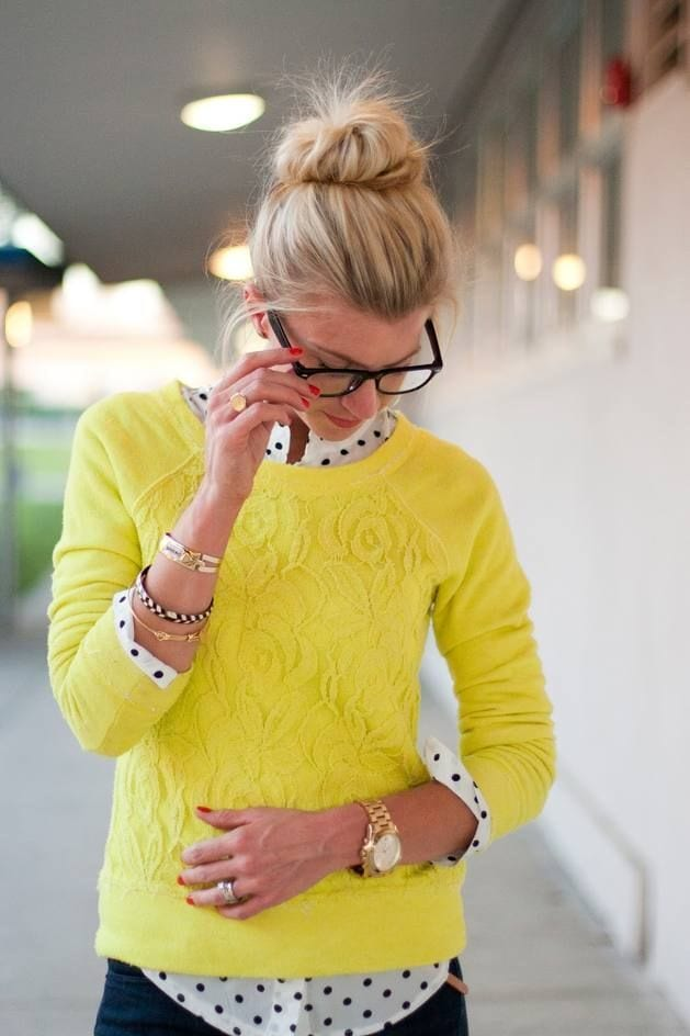 Yellow-sweater-style Sweater Wearing Ideas-17 Ways to Style Sweater with Outfits