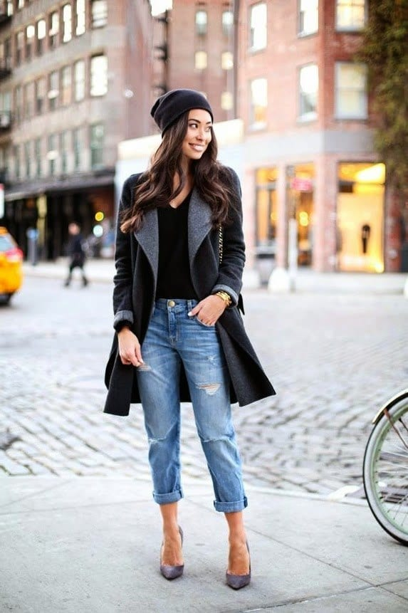 long coat with boyfriend jeans