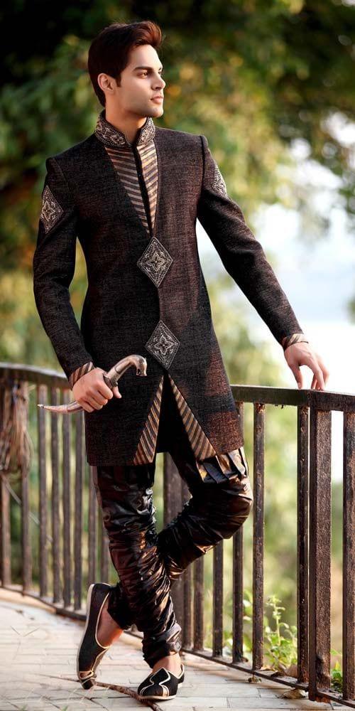 sherwani-with-pajama-style 20 Latest Style Wedding Sherwani For Men and Styling Ideas