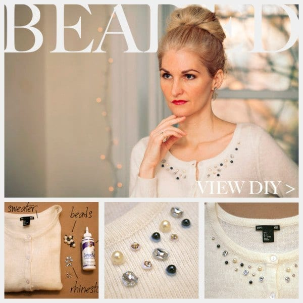 BEADED-SWEATER-DIY Top 50 DIY Winter Fashion Projects With Simple Tutorials