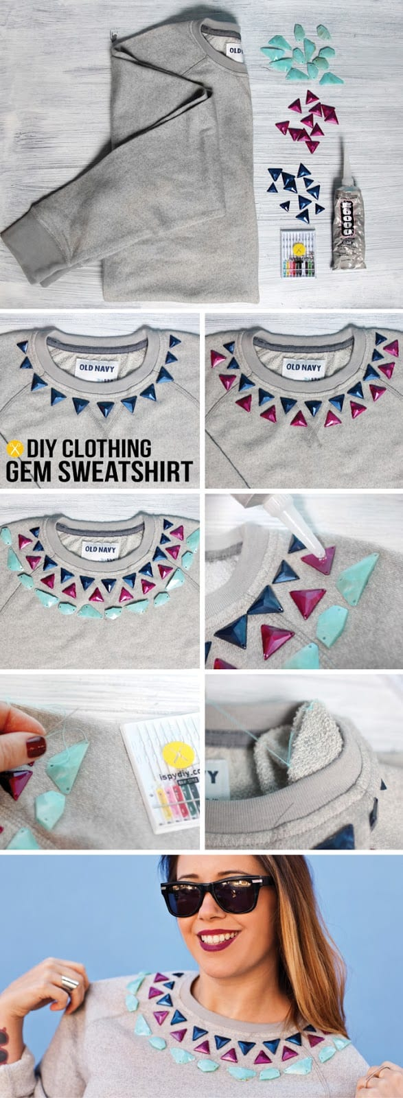 DIY-–-GEM-EMBELLISHED-SWEATSHIRT 50 Most Useful DIY Winter Fashion Ideas with Tutorials