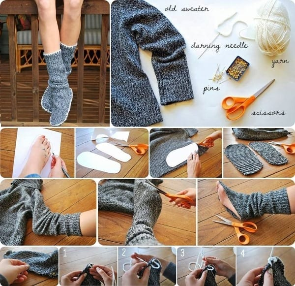 DIY-INSULATED-SOCKS-FROM-OLD-SWEATER 50 Most Useful DIY Winter Fashion Ideas with Tutorials