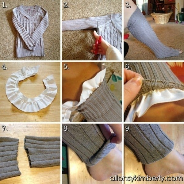DIY-LEG-WARMERSSOCKS-FROM-AN-OLD-SWEATER 50 Most Useful DIY Winter Fashion Ideas with Tutorials