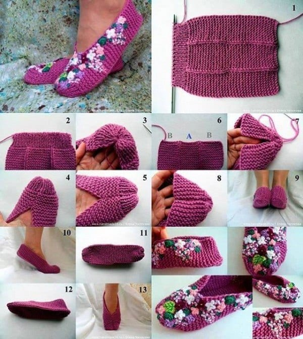 DIY-PRETTY-KNITTED-LILAC-SLIPPERS 50 Most Useful DIY Winter Fashion Ideas with Tutorials