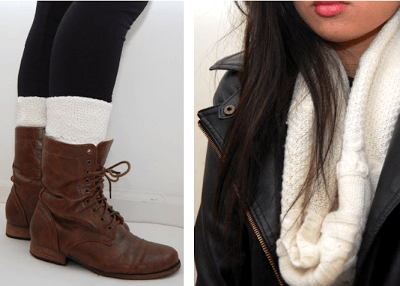 DIY-SWEATER-ARM-WARMERS-LEG-WARMERS-HEADBAND-CIRCLE-SCARF 50 Most Useful DIY Winter Fashion Ideas with Tutorials