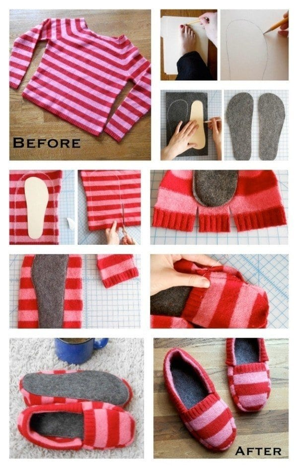 DIY-SWEATER-SLIPPER 50 Most Useful DIY Winter Fashion Ideas with Tutorials