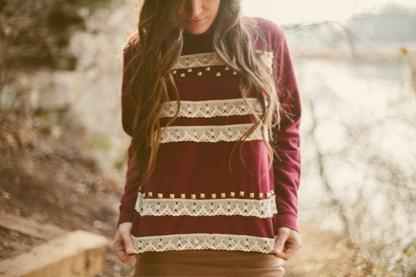 LACE-–-STUDDED-SWEATSHIRT-DIY Top 50 DIY Winter Fashion Projects With Simple Tutorials