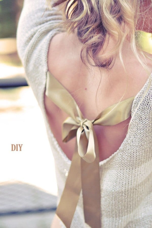 PRETTY-DIY-BOW-SWEATER Top 50 DIY Winter Fashion Projects With Simple Tutorials