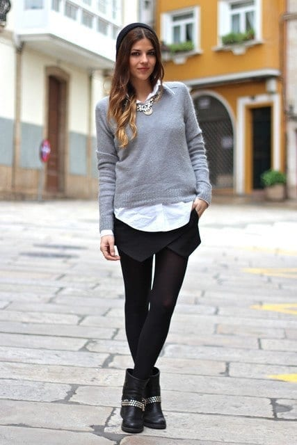 outfits to wear with skirts for fall (9)