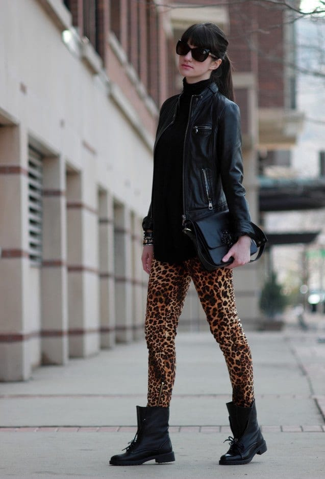 combat boots with cheetah print leggings