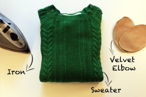 diy sweater elbow makeover
