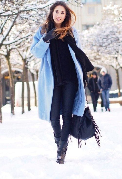 maje-turquoise-zara-coatslook-main 23 Cute Winter Outfits For College/High School Girls