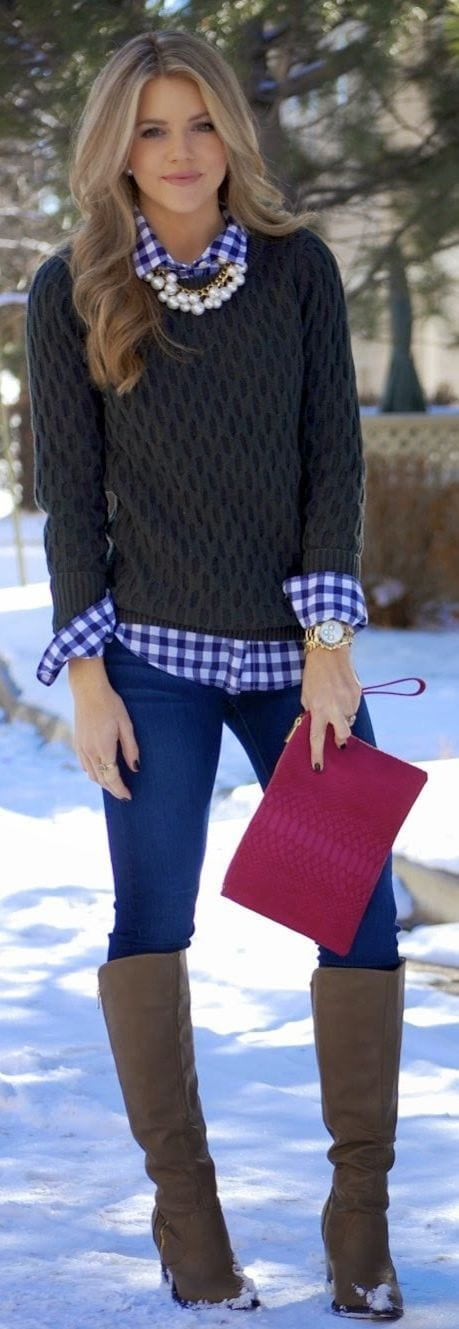 teenage-girls-sweater-wearing-ideas 23 Cute Winter Outfits For College/High School Girls