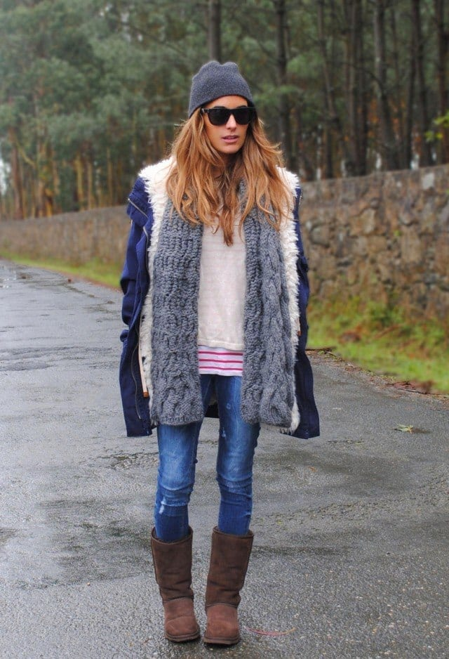 zara-azul-ugg-australia-abrigoslook-main-single 18 Cute Outfits to Wear with Uggs Boots This Winter